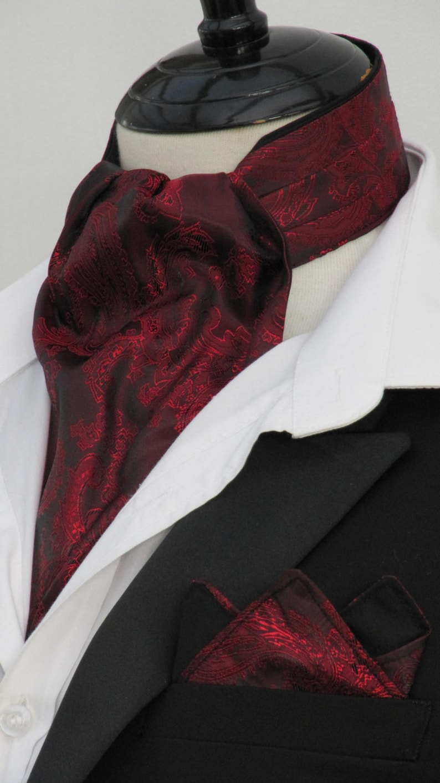 Mens Gold /& Burgundy Paisley Satin Ascot Cravat Kerchief