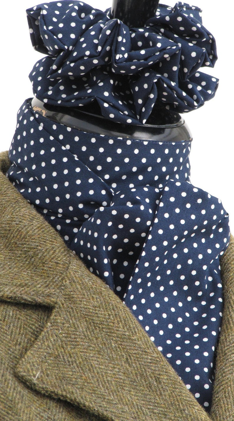 Baby Blue Navy Ready Tie or Self Tie Royal Blue /& White Pin Dot Cotton RidingHuntingDressage Stock Scrunchie