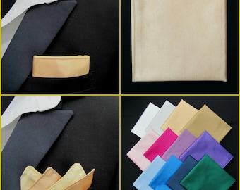 Gold Pocket Square/Handkerchief/Hanky/Kerchief Faux Silk. White/Cream/Pink/Purple/Red/Blue/Navy/Black