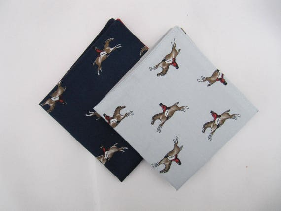 Mens Duo of Racing Horses 100/% Cotton Pocket Square Handkerchief Made in UK
