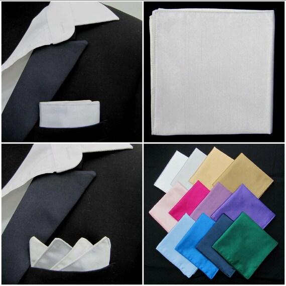 Mens Silver Pocket Square Faux Silk Handkerchief,Hankie,//Kerchief-Wedding//Party