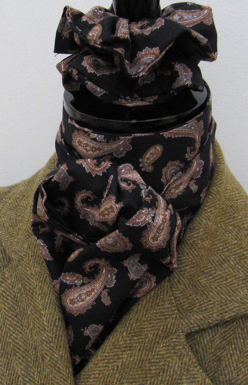 Hunting Eventing Tie Ready Tied Rich Red and Tan Paisley Cotton Riding Stock