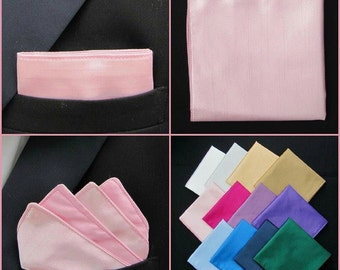 Baby Pink Pocket Square/Handkerchief/Hanky/Kerchief Faux Silk. White/Cream/Pink/Purple/Red/Blue/Navy/Black
