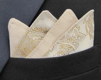 Mens Tan & Gold Pocket Square/Handkerchief/Hanky/Kerchief Paisley Shot Satin. White/Cream/Pink/Purple/Red/Blue/Navy/Black