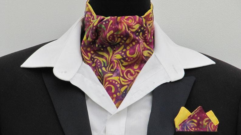 Kerchief Mens Pink Purple /& Yellow Batik Design Cotton Ascot Cravat