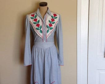 Vintage Salaminder  Western Wear, Blue and White Striped 2 Piece Shirt and Skirt set with appliqué flowers and leaves. 1970s, Cutter Bills