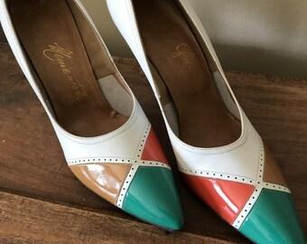 High Heels 1960s Shoes Color Block Colorblock Leather Shoes High Heels Vintage 60s Shoes Vintage Shoes Vintage 1960s Leather Pumps