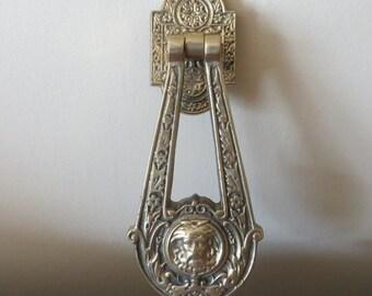 Antique Brass Door Knocker, Celtic, Green Man or Spirit of the Forest,  British Brass Figural Door Knocker