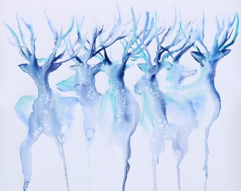 Elk Deer Wildlife Animals Hunting Green Cotton Fabric Print by the Yard D782.43