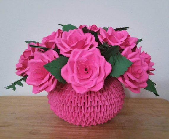 Centro De Mesa De Rosas De Papel Arreglo Floral 3d Origami Florero