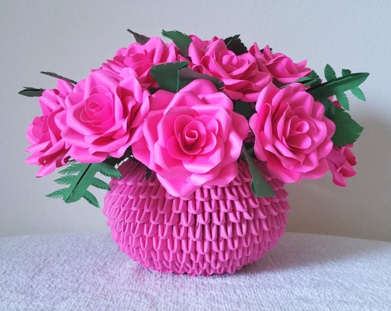Paper Rose Centerpiece Flower Arrangement 3d Origami Vase Etsy