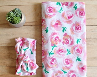 Topknot | Head Wrap | Floral | Rose blanket | Watercolor | Baby girl | Swaddle Blanket | Stretchy Cover | Car seat Cover | Nursing Cover