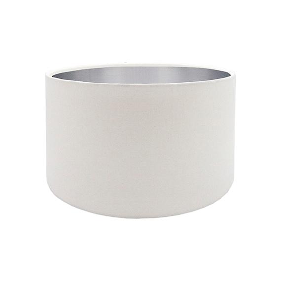 White Drum Lampshade Brushed Silver, White Drum Lamp Shade