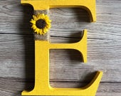 Decorated Sunflower Themed Freestanding Wooden Letter