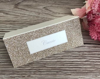 Glitter place cards, glittered place setting x10, wedding name cards, name settings, wedding stationery