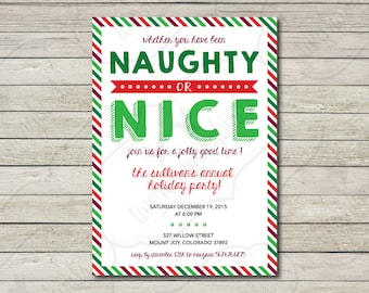 Naughty Nice Invite Etsy