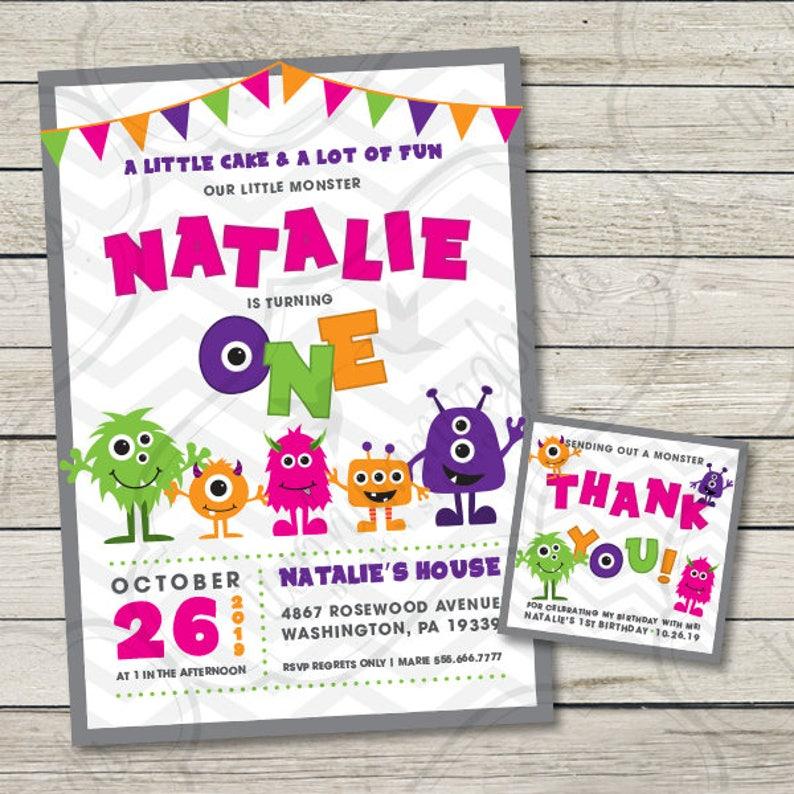 Little Monster Girl Birthday Invitation First Birthday Party Etsy