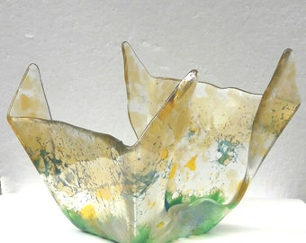 Hand made one of a kind fused glass bowl.quirky design.yellows ,greens ,blues
