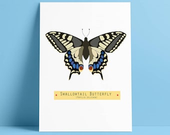 Field Study Butterfly Print, Swallowtail Butterfly, Printable Art, Natural History Butterflies, Instant Download, Nursery Nature Decor