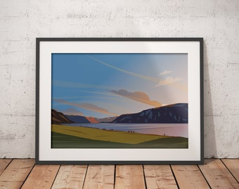 Golden Hour - Sunset at Loch Muick with the Deer Herd , Balmoral Estate Cairngorms, Abstract Landscape Art Print, Scottish Highlands