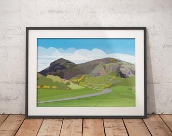 Arthurs Seat - Edinburgh, Scotland. Vector Landscape Art Travel Print - various sizes available