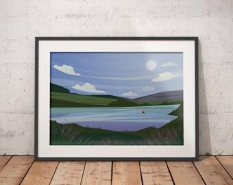 Wild Swimming - Abstract Knockburn Loch Art Print - Scottish Landscapes Series, Wild swimming in Scotland, for Triathlon fans