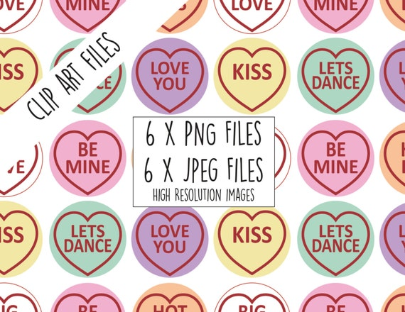 Candy Hearts Clip Art Images 6 Love Heart Sweets With Text Etsy