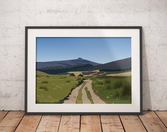 Path to Clachnaben, Abstract Scottish Mountain Landscape Art Print,  Aberdeenshire Scotland - Scottish Hillwalking - various sizes available