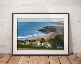 Coldingham Bay in the Scottish Borders Abstract Landscape Art Print - Beach Coastal Art, Exclusive Art for No7 The Bay