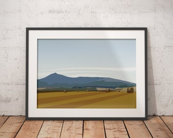 Harvest Time at Bennachie - Landscape Art of Mither Tap, Inverurie Aberdeenshire, Scotland - various sizes available