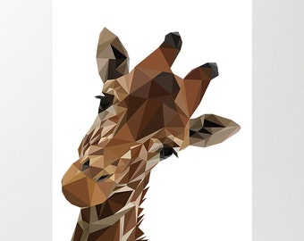 Giraffe Low Poly Print, Digital Download, Peekaboo Geometric Zoo Animal Poster, Printable Childrens Art, Nursery Decor, Polygon Illustration