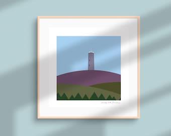 Scolty Tower, Banchory, Heathery Scottish Hills Minimalist Landscape Abstract Square Art Print,  Aberdeenshire, Scotland