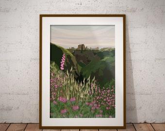 The Wild Flowers of Dunnottar - Landscape Art of Dunnottar Castle, Aberdeenshire, Scotland - Scottish Castles - various sizes available