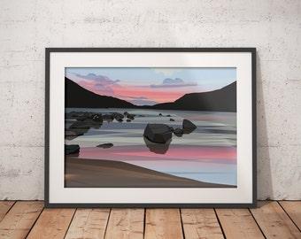 Midsummer at Dubh Loch - Balmoral Estate, Cairngorms, Scotland - Contemporary Scottish Landscape Art Print, Pink Skies at Sunset