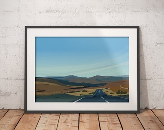 The Road Home - Abstract Scottish Landscape  Art Print, Cairn O 'Mount Road in Aberdeenshire - Tour of Britain Route various sizes available