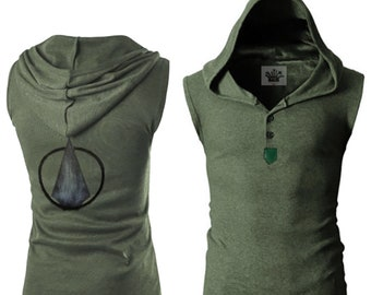 The Green Arrow Inspired - Sleeveless - Olive / Military - Green hooded shirt  sc 1 st  Etsy & Green arrow cosplay | Etsy