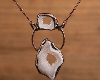 White or Brown Geode Stone Necklaces