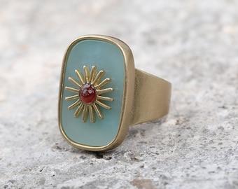 Natural Amazonite Stone Rings Jewelry,Birthstone Rings,Men Rings,Brass Copper Rings,AAA Rings,Multistone Rings Bulk