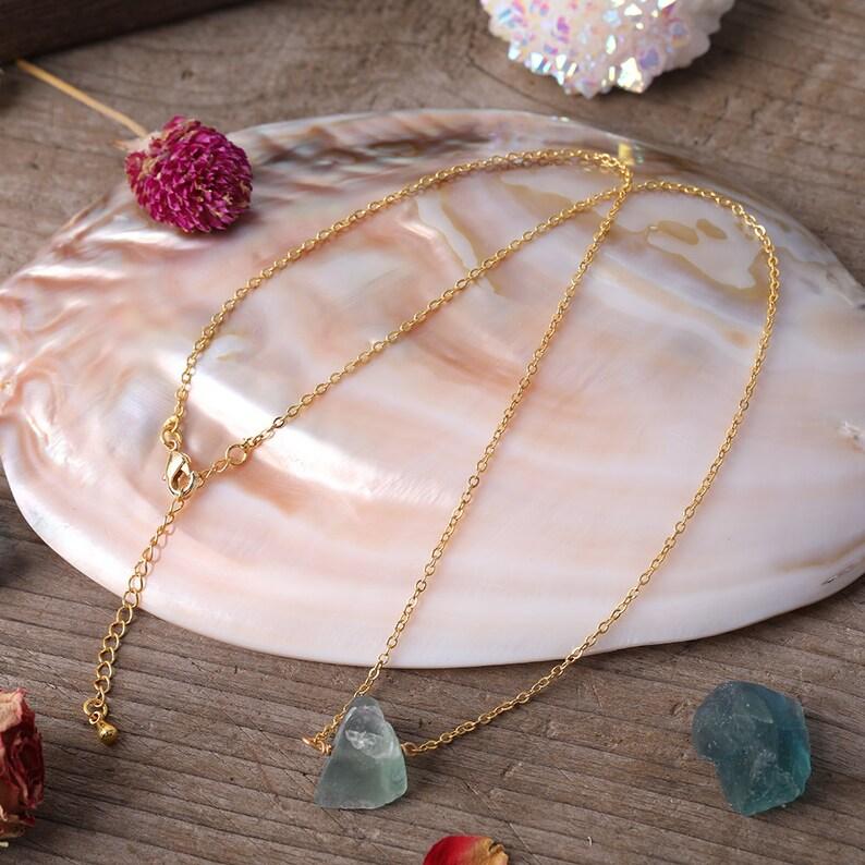 Nugget Rough Stone Beads Gold Necklace,Black TourmalineRose QuartzCitrineAmethystFluoriteCrystal Charms Necklace Wholesale