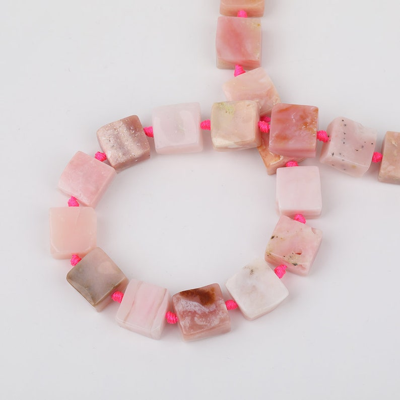 Square Pink Opal Beads Charms Bracelet,Natural Opal Gemstones Drilled Beads,Raw Opal Freeform Slab Spacers Beading Necklace Wholesale Bead