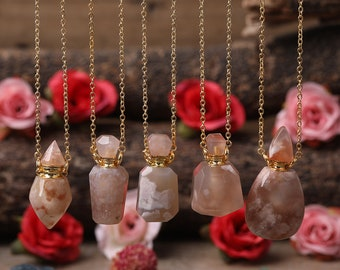 Sakura Agate Perfume Bottle Gold Chain Necklace,Cherry Blossom Agate Essential Oil Diffuser Vial Charm Necklace,Christmas Gifts