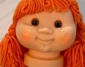 Movable Blue Eyes Yellow Yarn Hair Pig Tails Large Baby Doll Head