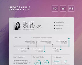 infographic resume vol 1 word indesign and photoshop etsy