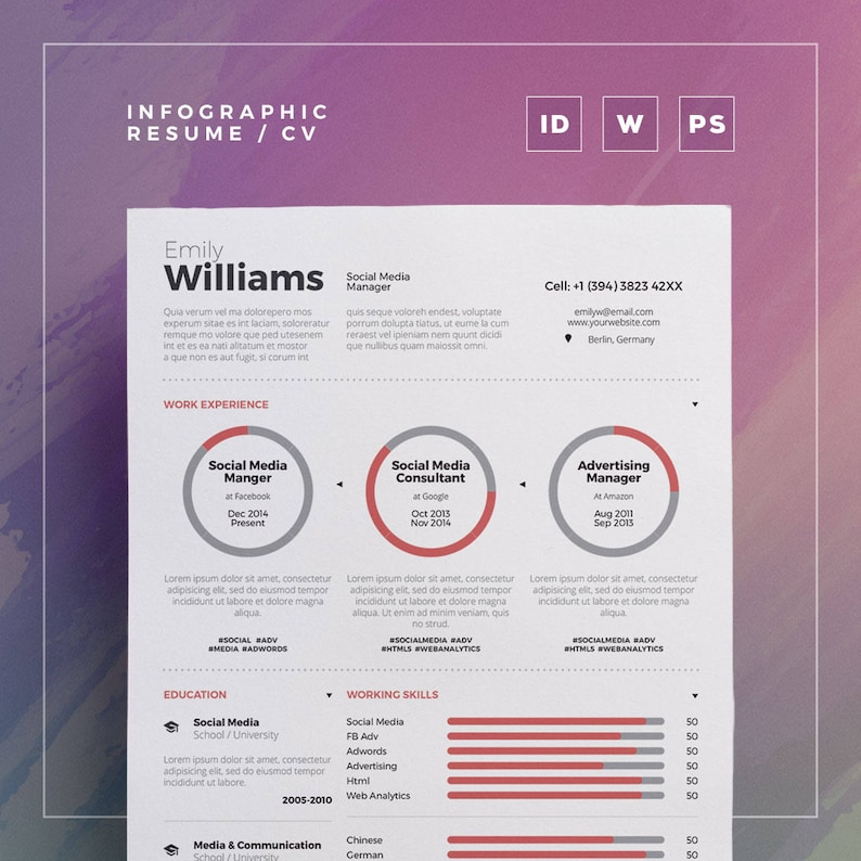 Infographic Resume Vol 3 Word And Indesign Template Professional And Creative Cv Resume Design Instant Digital Download
