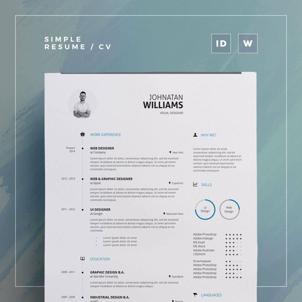 Currículum sencillo volumen 1 Plantilla de Indesign y Word