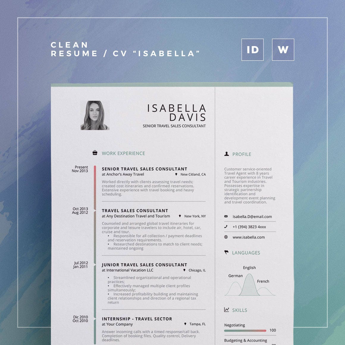 clean resume  cv isabella word and indesign