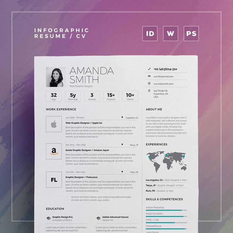 Infographic Resume Cv Volume 6 Single Page Photoshop Word