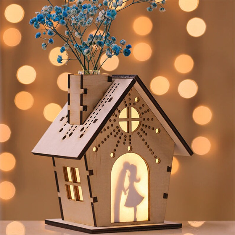 Cadre Lumineuse Bois Photo Personnalisé Sec Découpé Table Maison Lithophanie Vase Parfum Diffuse De Miniature Lampe Au Nuit Fleur En 29EWIDH
