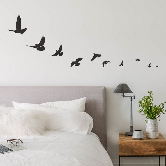 f648d74beb Bird Wall Decals Bird Decal Flying Bird Decals Simple Bird   Etsy