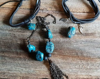 Genuine turquoise #jewelery set